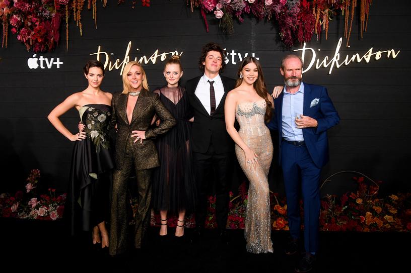 "Ella Hunt, Jane Krakowski, Anna Baryshnikov, Adrian Blake Enscoe, Hailee Steinfeld and Toby Huss at the global premiere of ""Dickinson."""