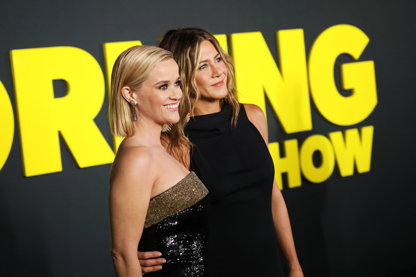 "Reese Witherspoon and Jennifer Aniston at the global premiere of ""The Morning Show."""