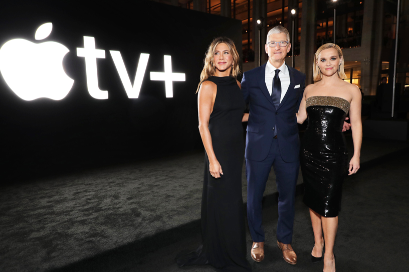 "Jennifer Aniston, Tim Cook and Reese Witherspoon at the global premiere of ""The Morning Show."""
