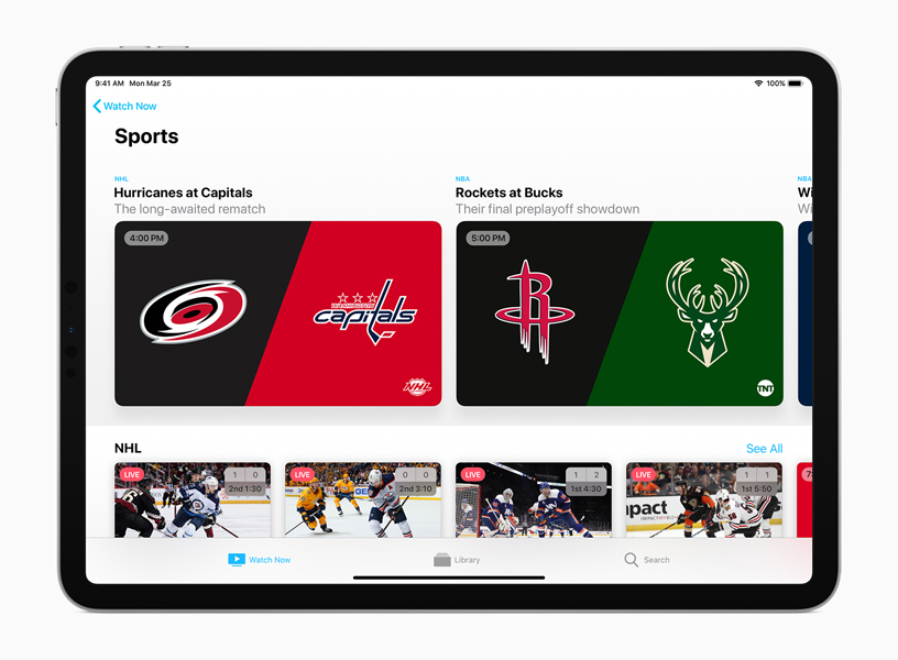 The Sports screen in the Apple TV app.