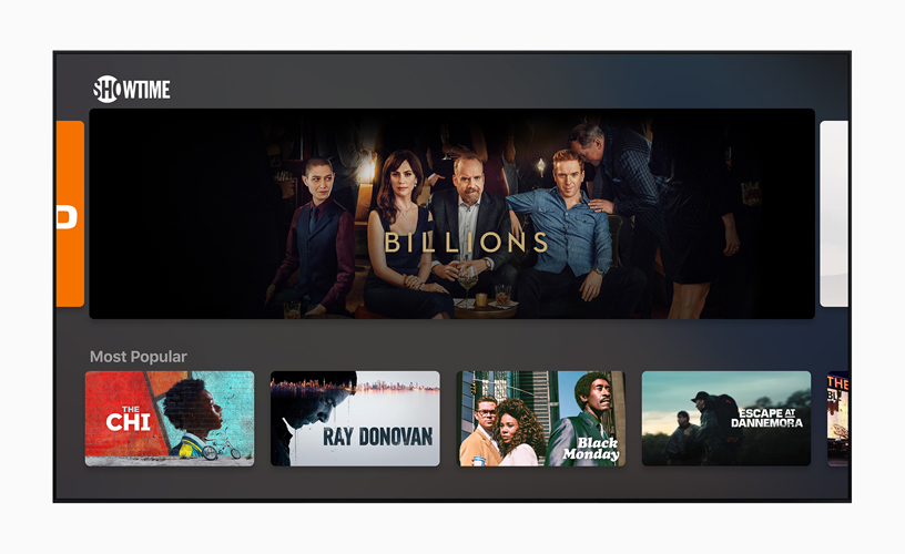 Het beginscherm van Showtime in de Apple TV-app.