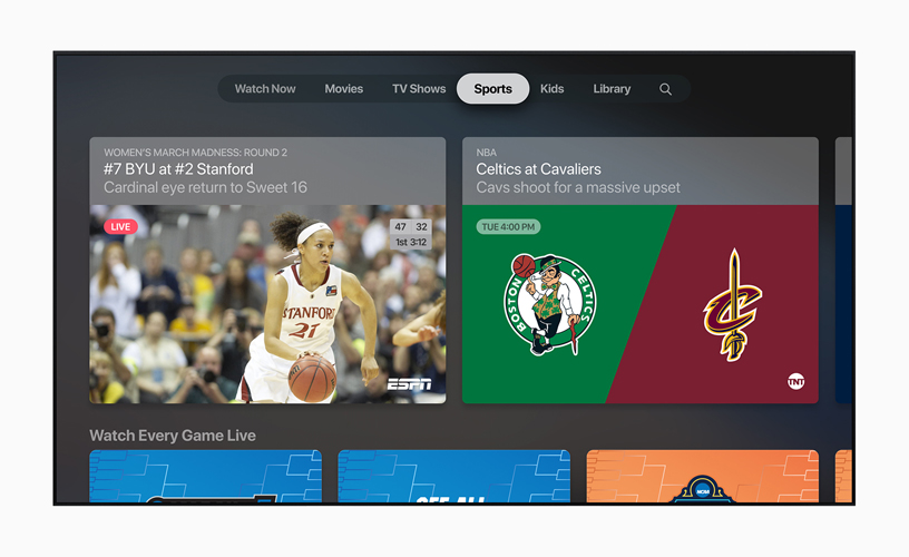 Het scherm Sport in de Apple TV-app.