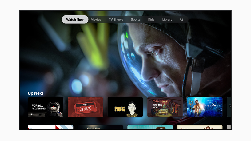 The Watch Now screen on the Apple TV app.