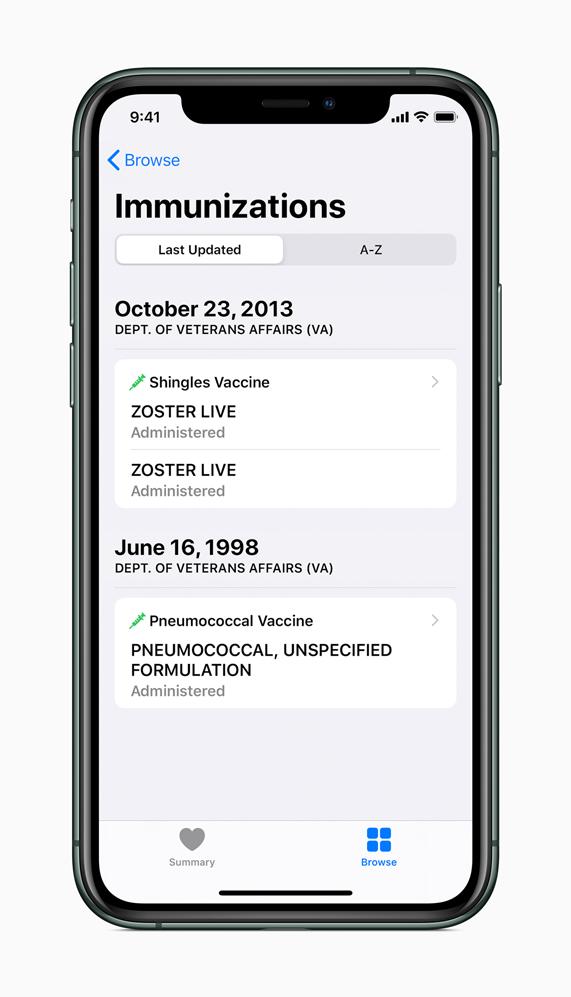 iPhone showing Immunizations screen.