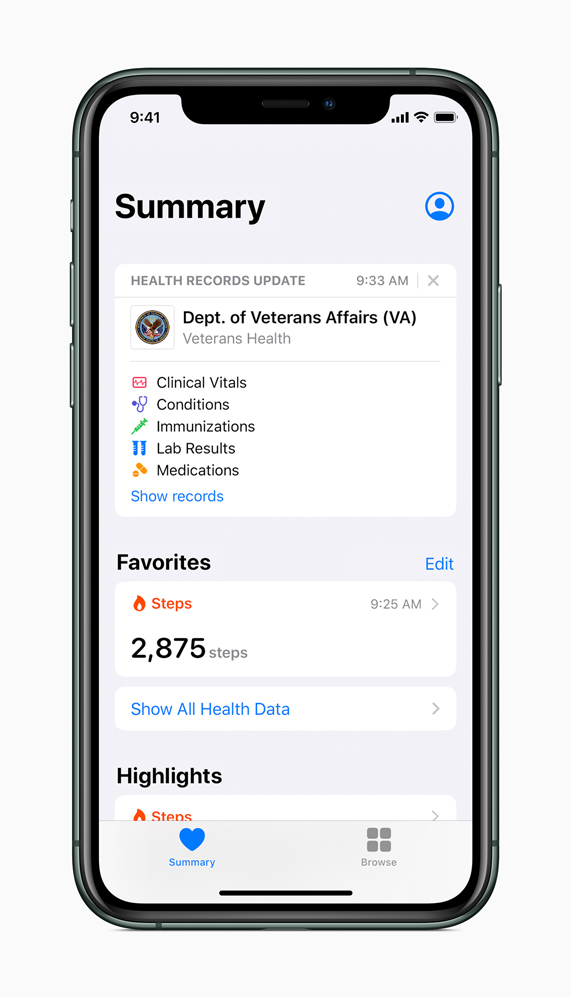 iPhone showing Health Records feature.
