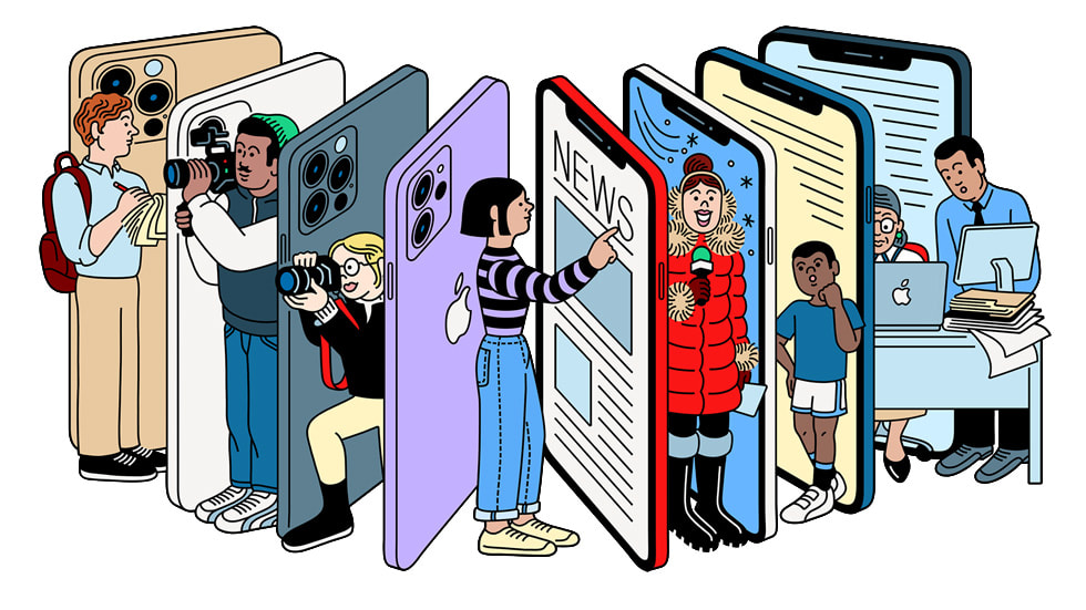 An illustration of iPhone 12 Pro and journalists.