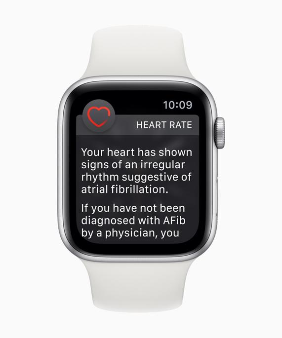 ECG app and irregular heart rhythm notification available