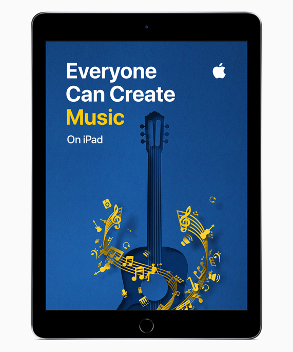 iPad showing Everyone Can Create Music screen.
