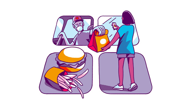Illustrazione grafica di app di food delivery.