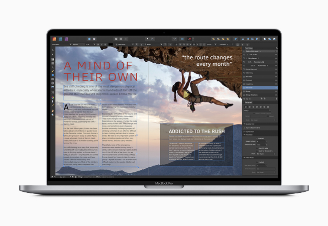 MacBook con l'app Affinity Publisher.