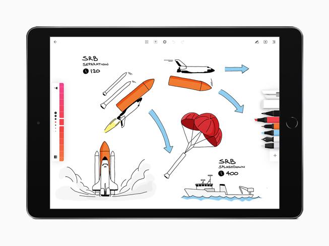 正在展示 Moleskine app 的 iPad。