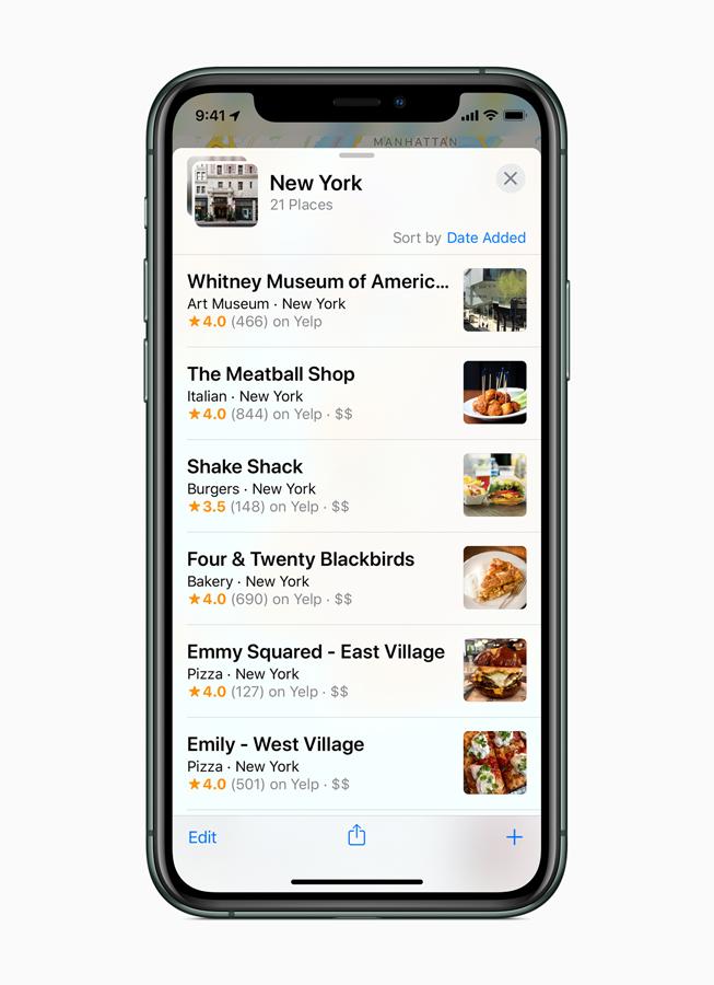 """Die """"Sammlungen""""-Ansicht in der neu gestalteten Karten App auf dem iPhone 11 Pro."""