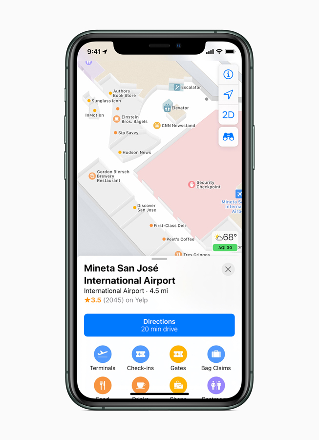 The new Indoor Maps feature displayed on iPhone 11 Pro.