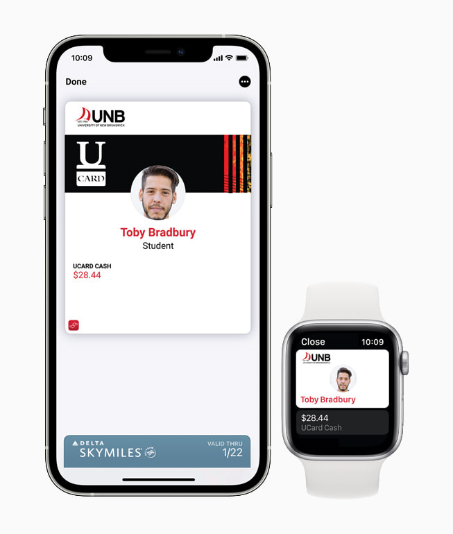 Student ID from University of New Brunswick being used in Wallet on iPhone 12 Pro and Apple Watch Series 6.