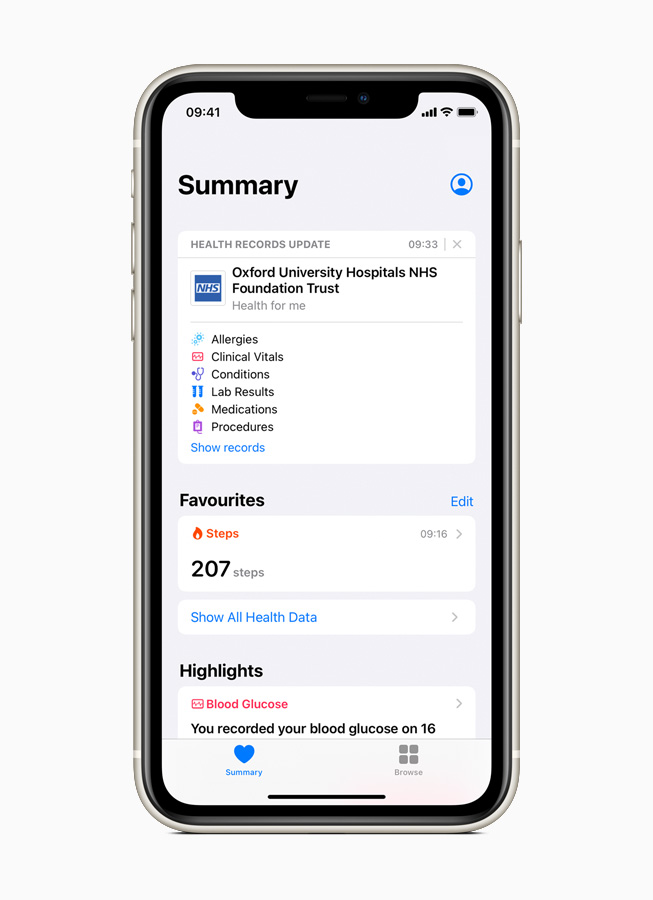 A Health Records update from Oxford University Hospitals is displayed on iPhone 11 Pro.