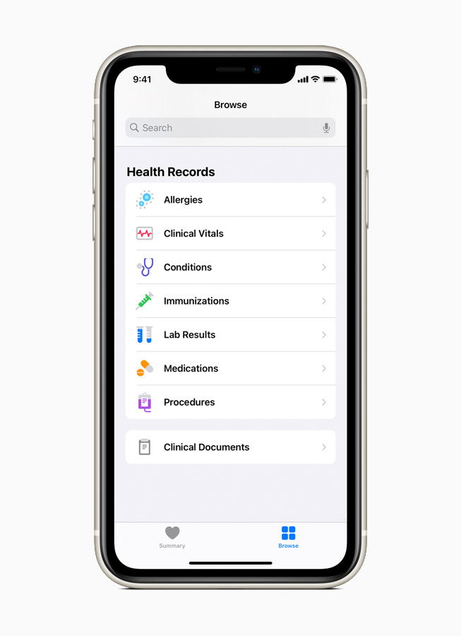 Medical records available on Health Records are displayed on iPhone Pro 11.