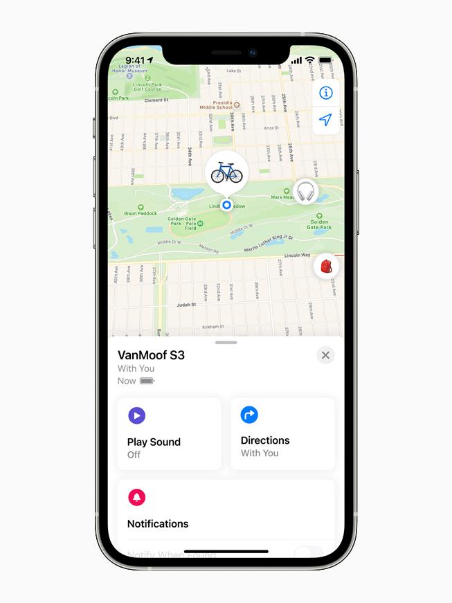 La S3 de VanMoof en la app Buscar de un iPhone 12 Pro.