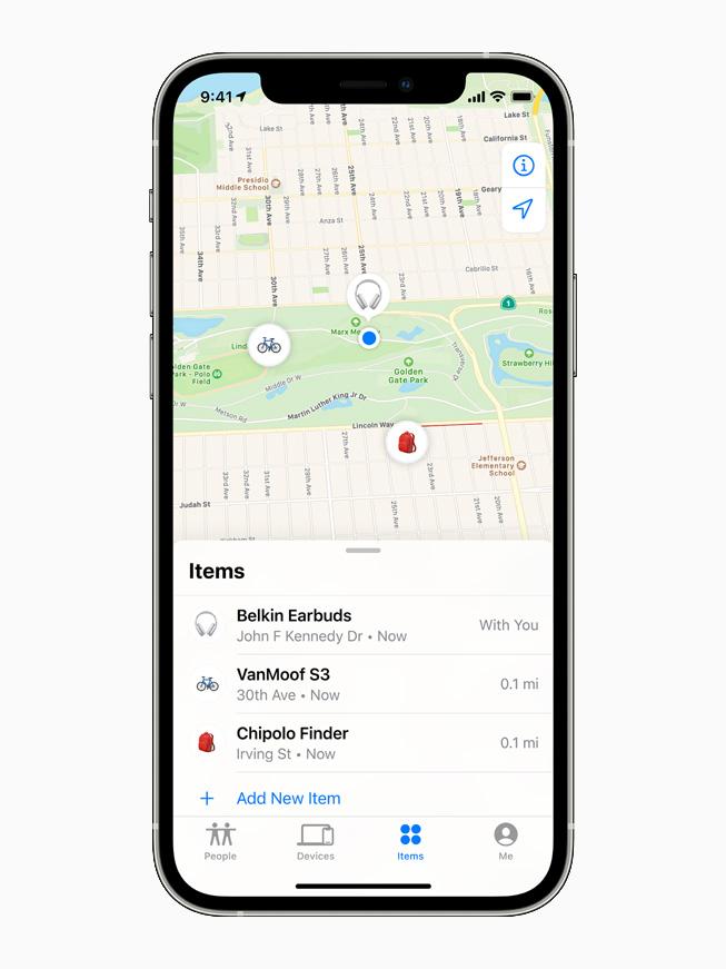 La pestaña Objetos de la app Buscar en un iPhone 12 Pro.
