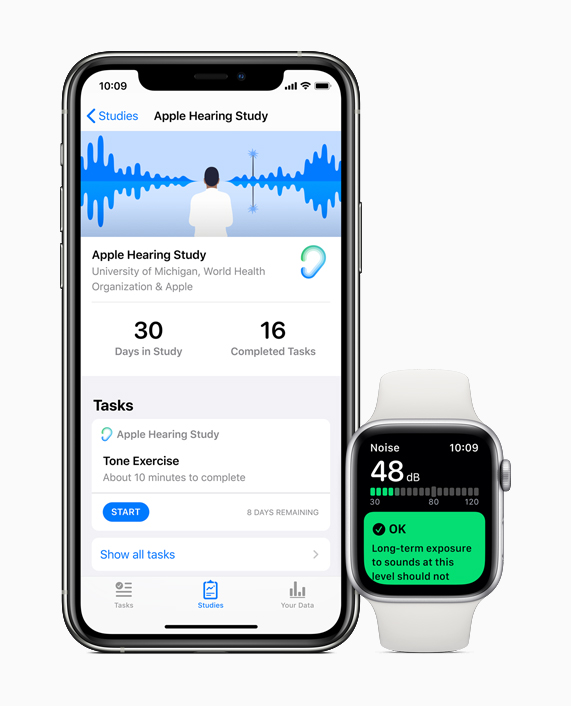 iPhone showing the Apple Hearing Study and Apple Watch showing the Noise app.