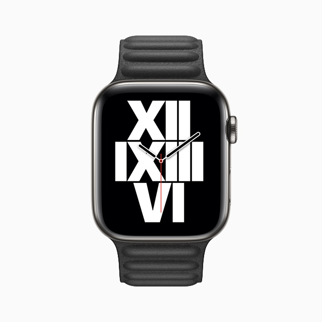 Le cadran Typograph affiché sur l'Apple Watch Series 6.