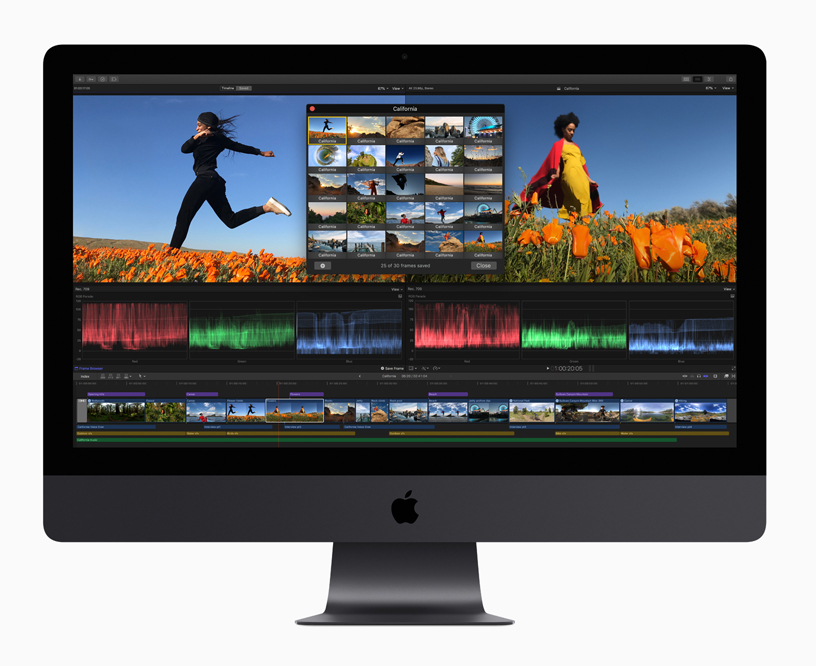 iMac with screenshot of Final Cut Pro X.