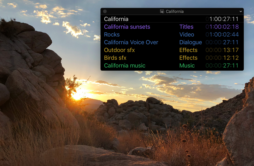 Screenshot with floating timecode window.