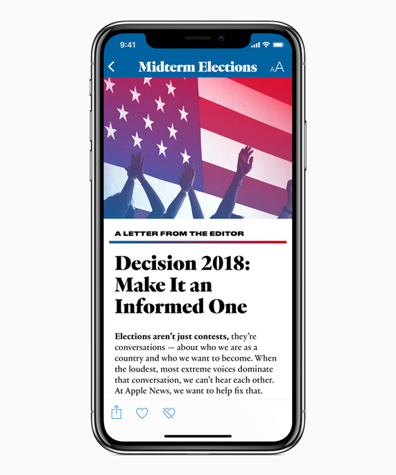 iPhone X showing A Letter from the Editor in Apple News' Midterm Elections section.