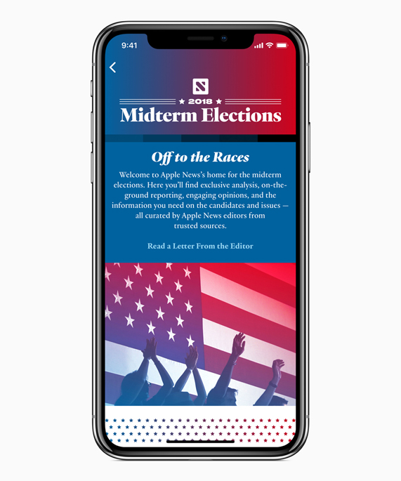 iPhone X showing Apple News' Midterm Elections section.