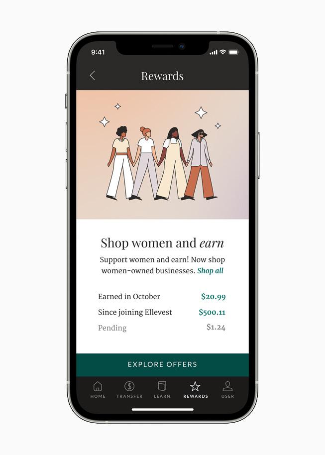Cash back rewards screen on the Ellevest app, displayed on iPhone 12 Pro.