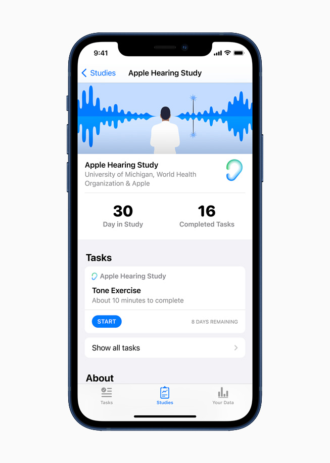 The Apple Hearing Study, displayed on iPhone 12.
