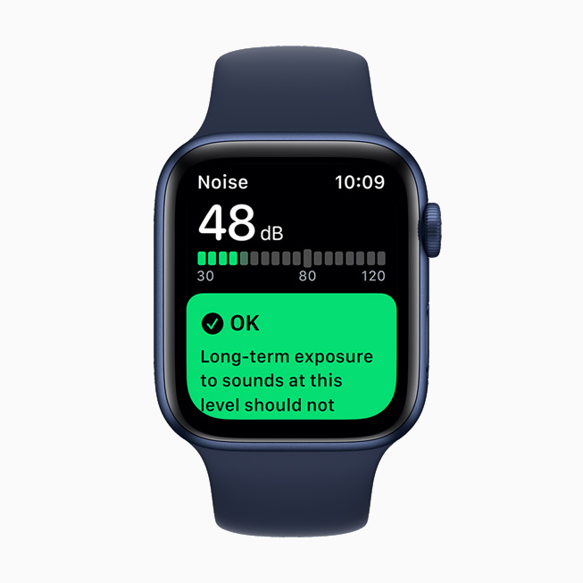 L'app Rumore su un Apple Watch Series 6.