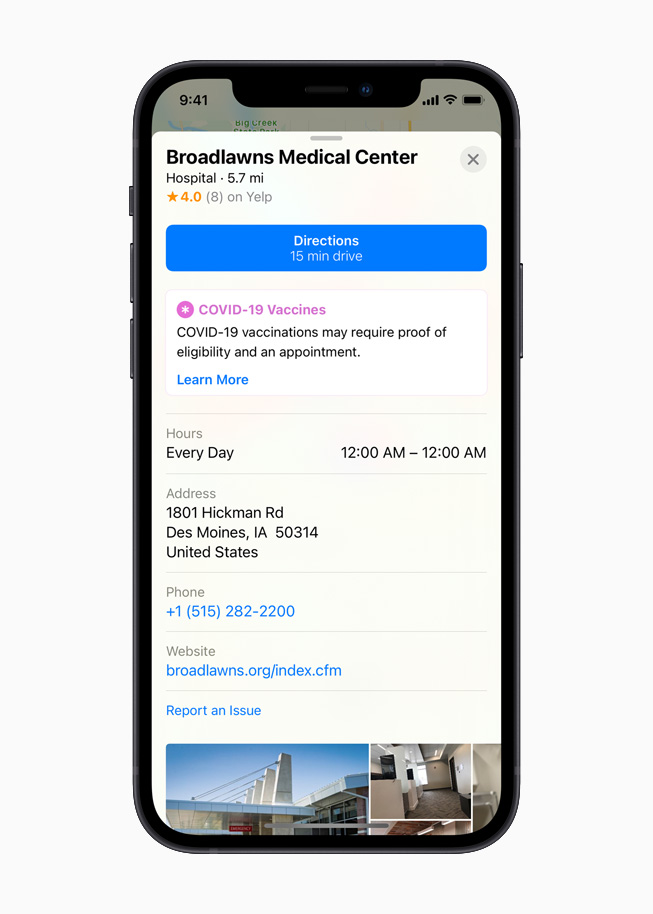 A healthcare provider placecard on Apple Maps, displayed on iPhone 12.