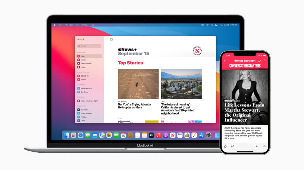 Apple News displayed on MacBook Air and iPhone 12 Pro.