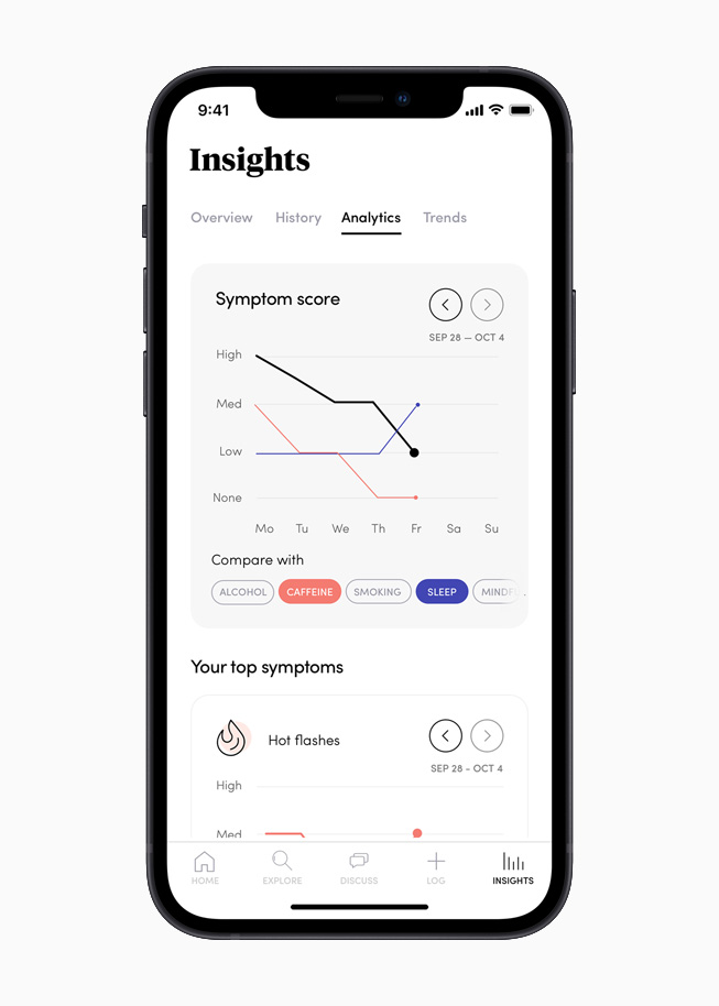 La section Insights de l'app Caria, affichée sur l'iPhone 12.