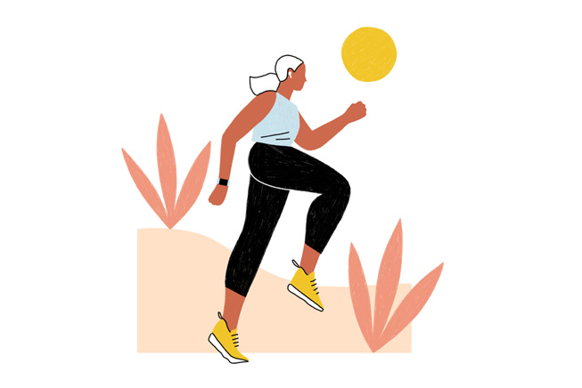 Illustration of a woman running outdoors.