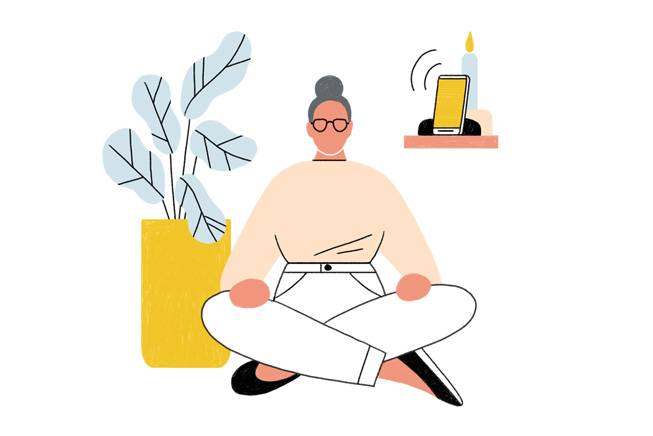 Illustration of a woman meditating.