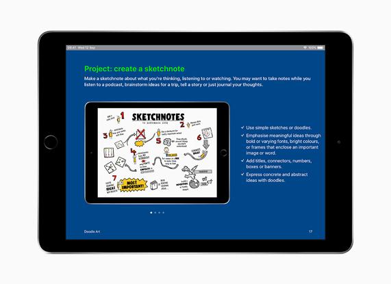 iPad con 'Creatività per tutti' in inglese.