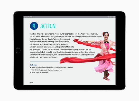 iPad con 'Creatività per tutti' in tedesco.