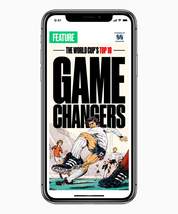 iPhone X featuring the Apple News App World Cup bracket from Eight by Eight