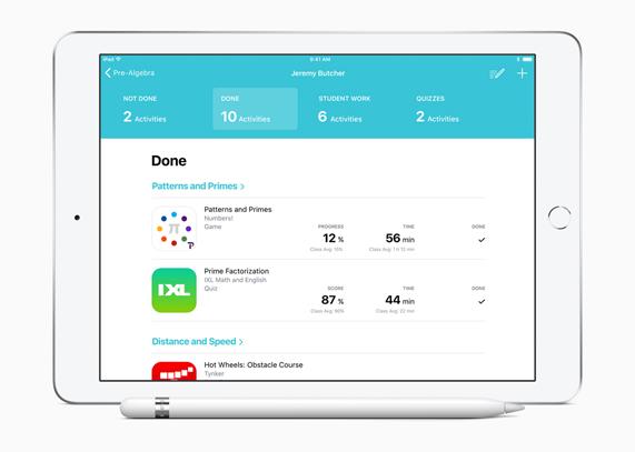iPad som visar skärmen med uppdateringar om enskilda elevers framsteg i appen Skolarbete