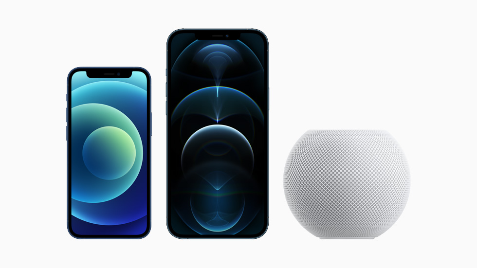 iPhone 12 mini, iPhone 12 Pro Max und HomePod mini.
