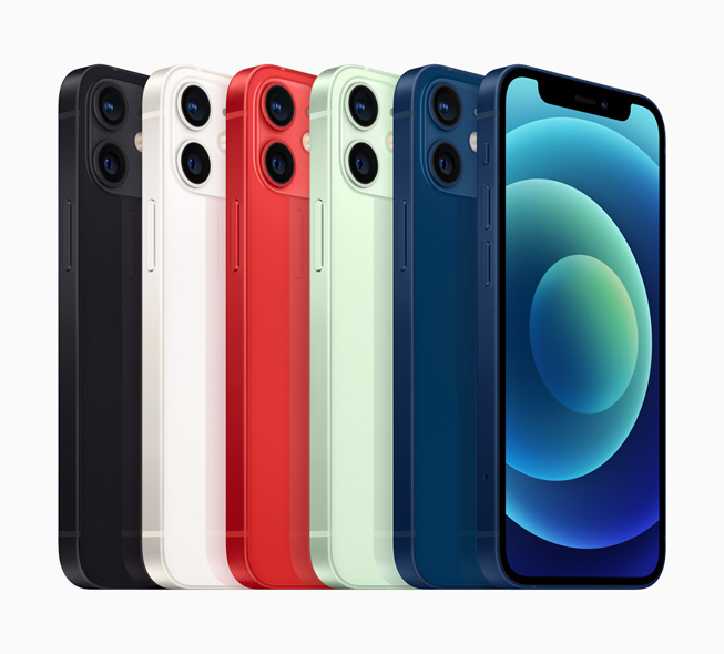 Six models of iPhone 12 mini show off available colours, the dual-camera system, and the edge-to-edge Super Retina XDR display.