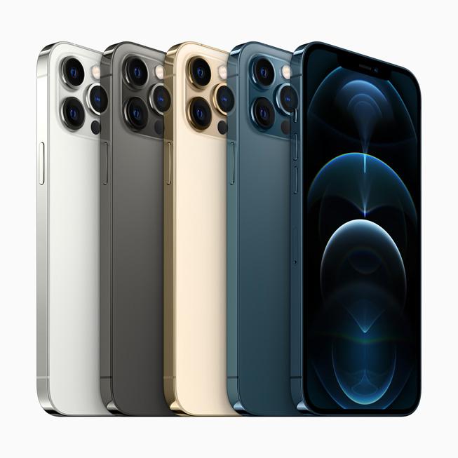 Five models of iPhone 12 Pro Max show off available colours, the pro camera system, and the edge-to-edge Super Retina XDR display.