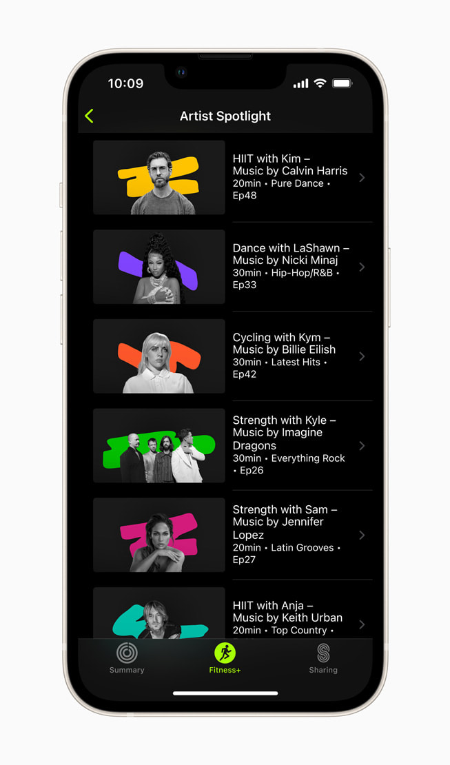 An iPhone screen shows six artists and their Artist Spotlights playlists in Fitness+.