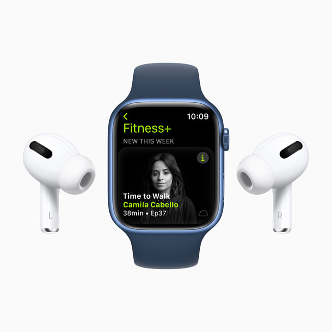Apple Watch Series 7 displays a Time to Walk episode in Fitness+ with Camila Cabello.