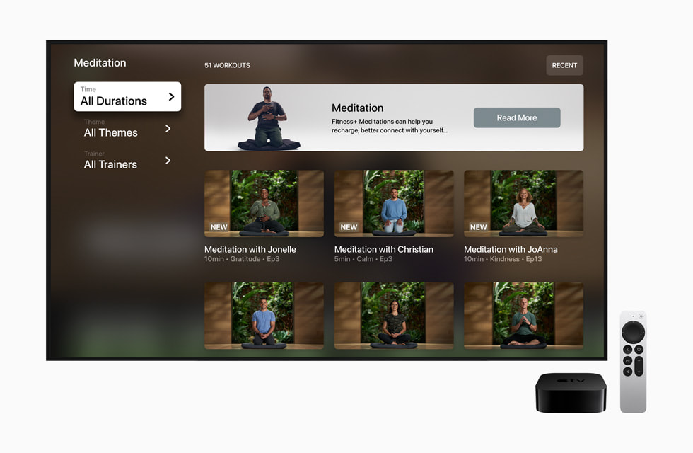 A screen in Apple Fitness+ shows several Meditation courses.