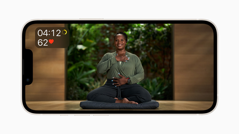 An Apple Fitness+ trainer leads a guided Meditation session.