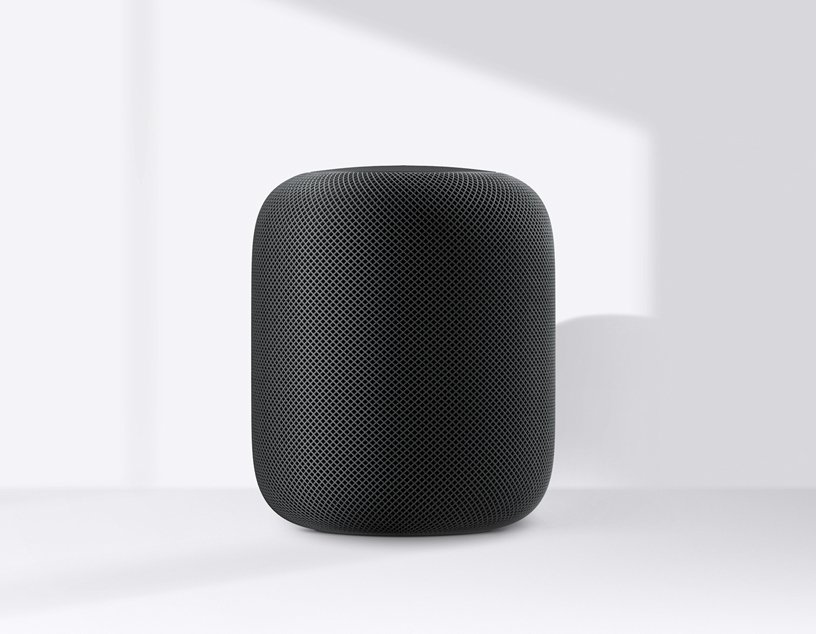 Space gray HomePod.