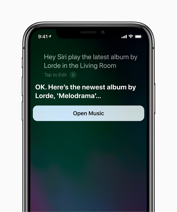 iPhone X screen with Siri providing the newest album by Lorde, Melodrama.