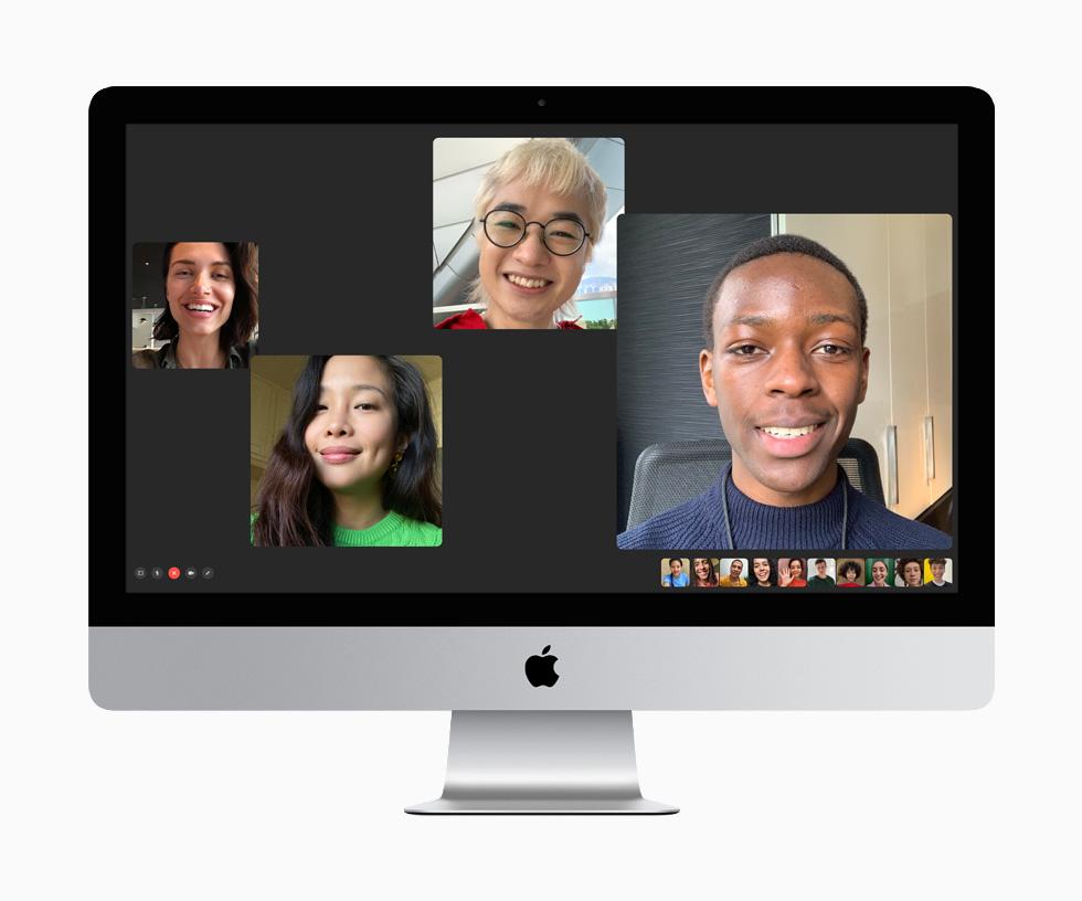 Catorce personas conectadas en FaceTime en la iMac de 27 pulgadas.